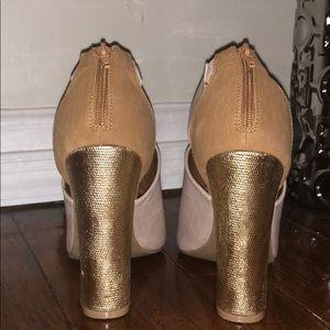Beige & Gold heeled sandals